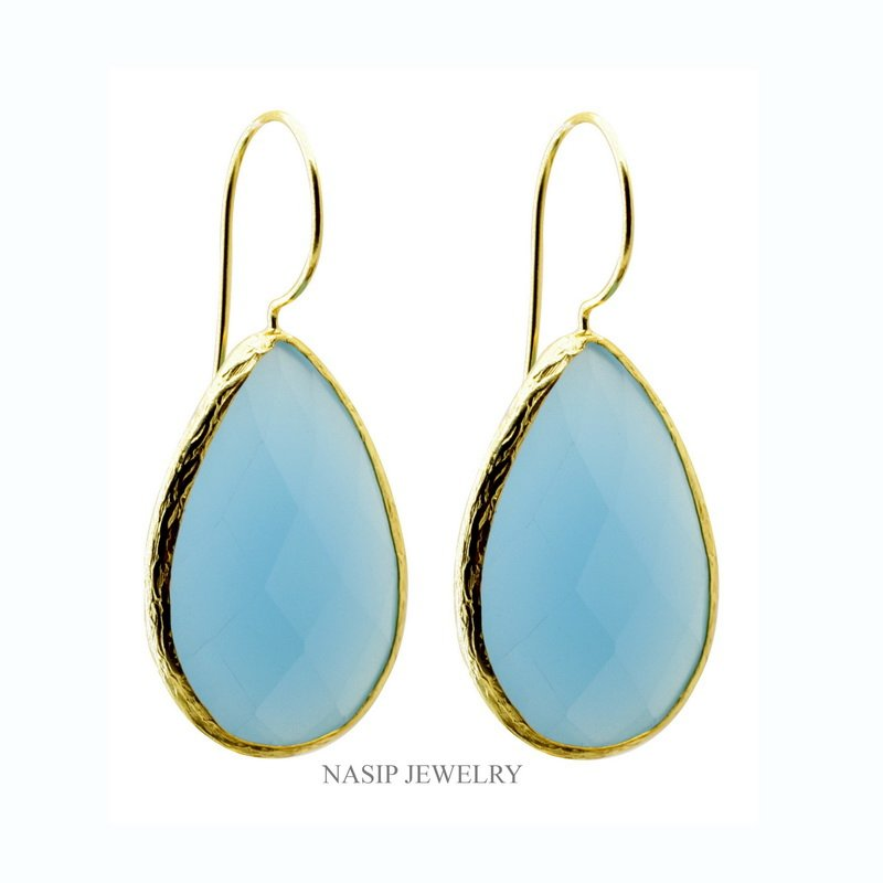 Gold Plated Blue Calcedony Earring