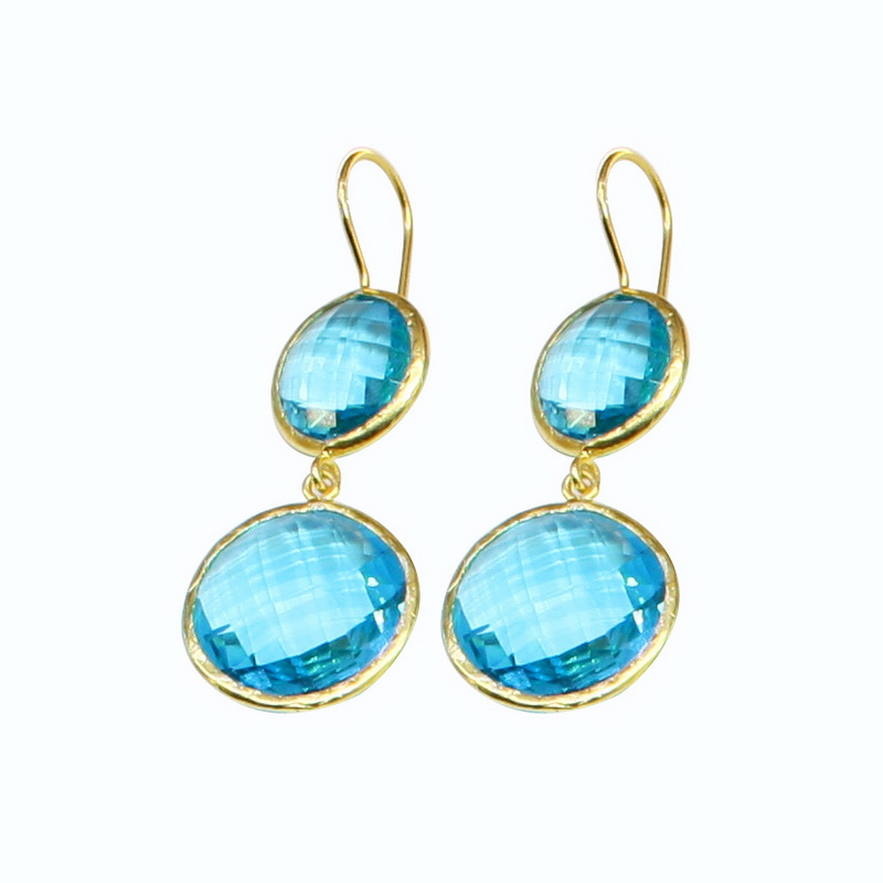 GSE177 - GOLD PLATED HANDMADE BLUE TOPAZ QUARTZ EARRING