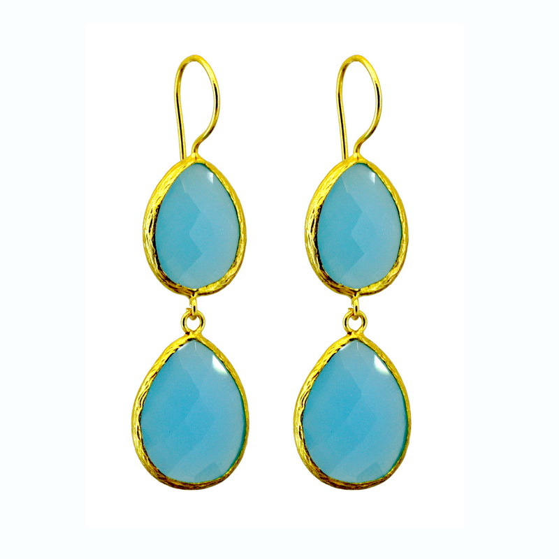 GSE209 - GOLD PLATED BLUE CALCEDONY QUARTZ EARRING