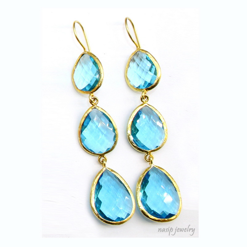 Blue Topaz Hydro Quartz Dangle Earring
