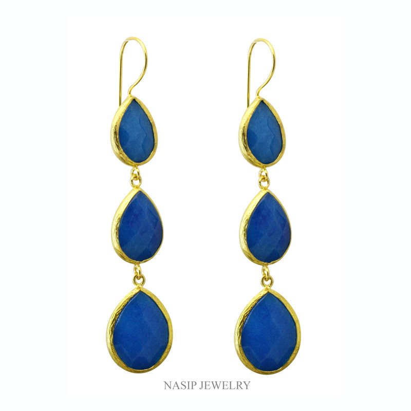 Blue Jade Triple Dangle Earring