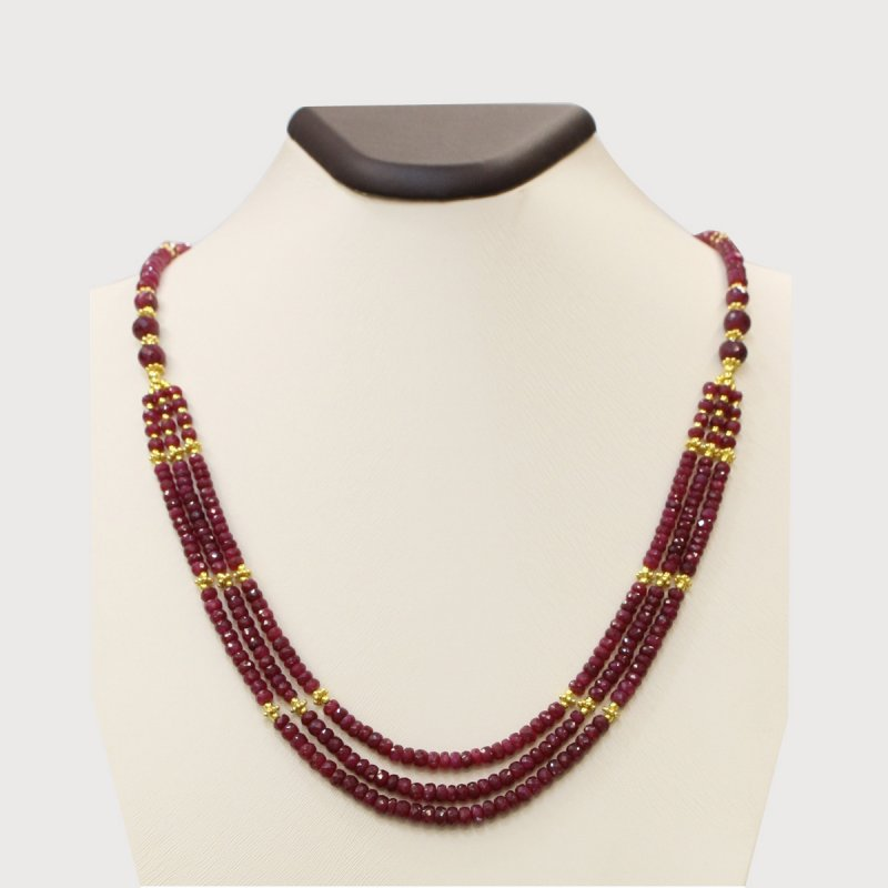 PRE01 - PRECIOUS GEMSTONE DESIGNER NECKLACE WITH RUBY STONE