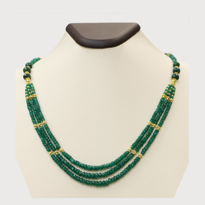 PRE03 - PRECIOUS GEMSTONE DESIGNER NECKLACE WITH EMERALD STONE