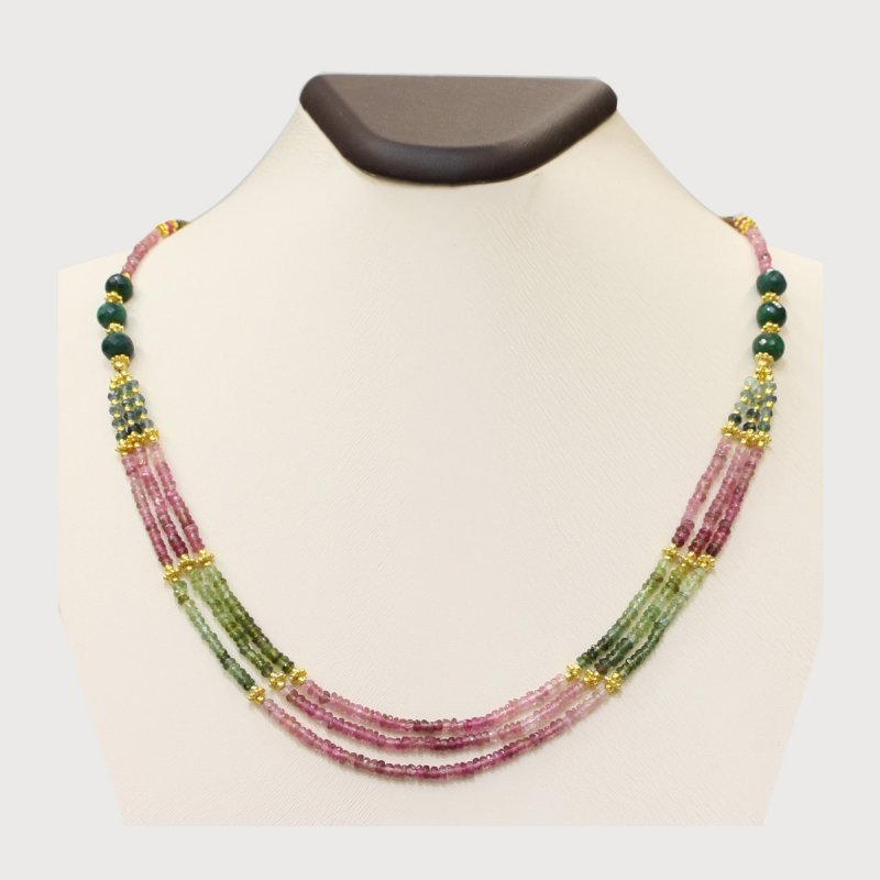 PRE04 - PRECIOUS GEMSTONE DESIGNER NECKLACE WITH TURMALINE STONE
