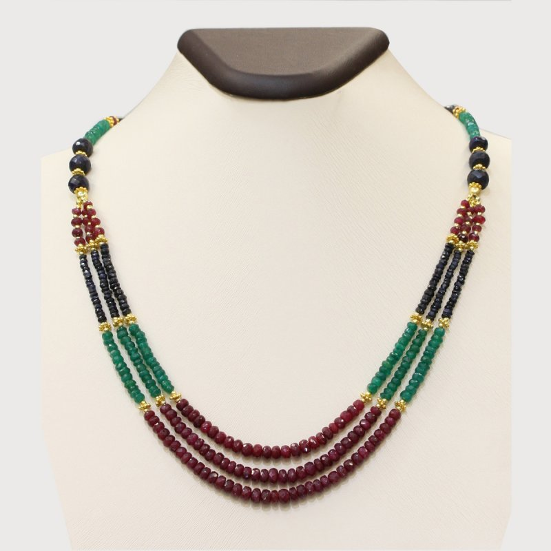 PRE05 - PRECIOUS GEMSTONE DESIGNER NECKLACE WITH MULTI STONE