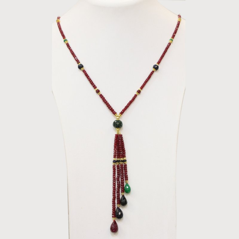 PRE06 - PRECIOUS GEMSTONE DESIGNER NECKLACE WITH RUBY STONE