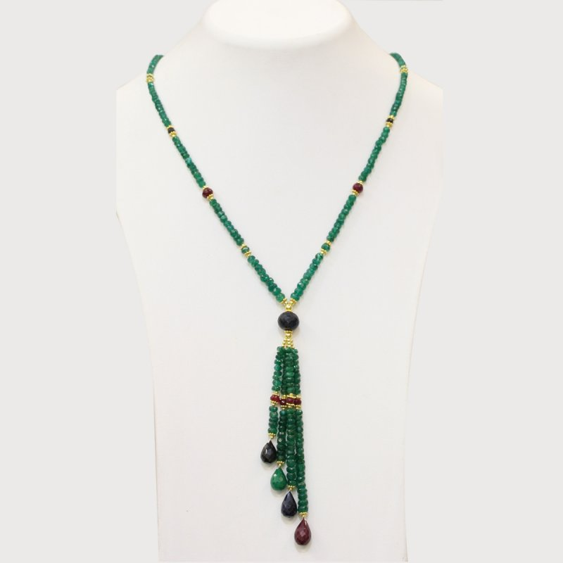 PRE08 - PRECIOUS GEMSTONE DESIGNER NECKLACE WITH EMERALD STONE