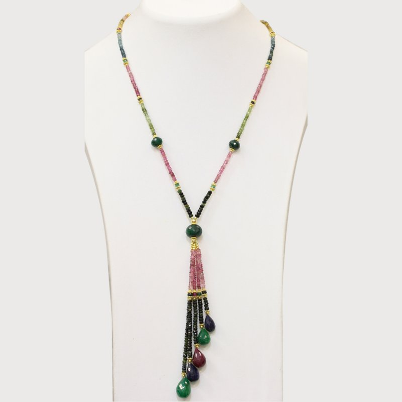 PRE09 - PRECIOUS GEMSTONE DESIGNER NECKLACE WITH TURMALINE STONE