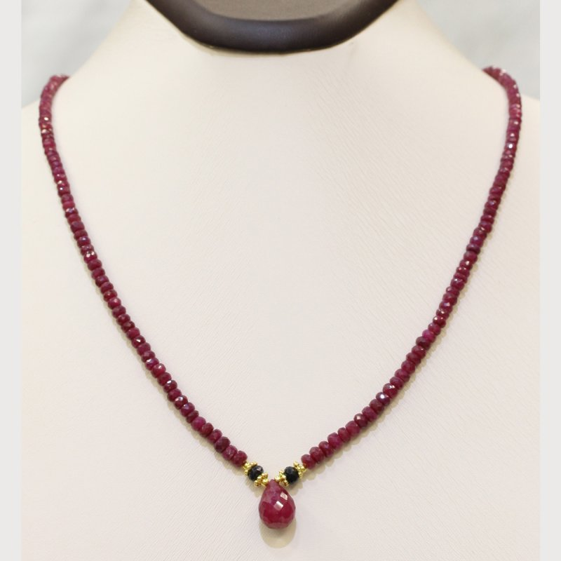 PRE10 - PRECIOUS GEMSTONE DESIGNER NECKLACE WITH RUBY STONE