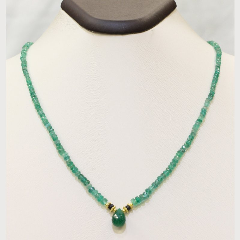 PRE11 - PRECIOUS GEMSTONE DESIGNER EMERALD NECKLACE