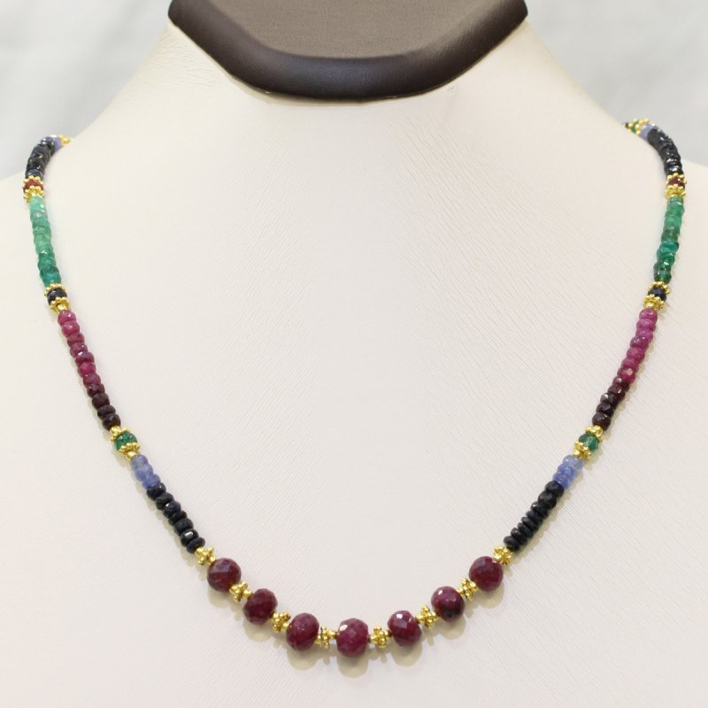PRE14 - PRECIOUS GEMSTONE DESIGNER MULTI-COLOR NECKLACE