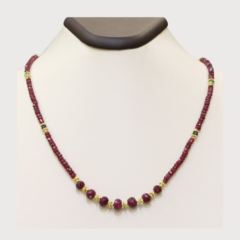 PRE15 - PRECIOUS GEMSTONE DESIGNER RUBY NECKLACE