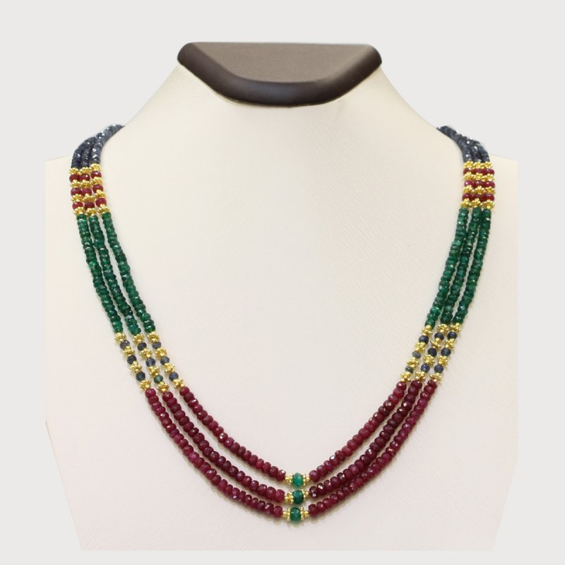 PRE17 - PRECIOUS GEMSTONE DESIGNER MULTI-COLOR NECKLACE