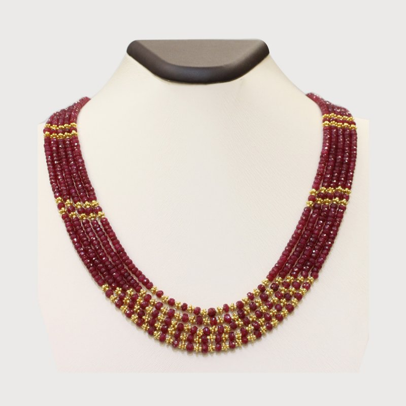 PRE18 - PRECIOUS GEMSTONE DESIGNER RUBY NECKLACE
