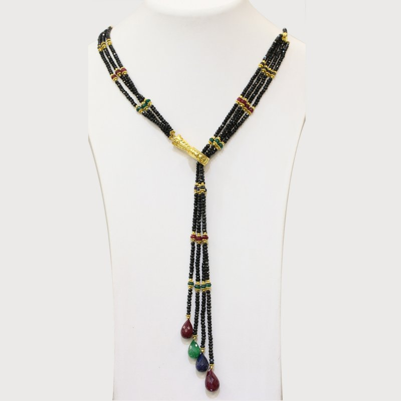 PRE20 - PRECIOUS GEMSTONE DESIGNER BLACK SPINEL & MULTI-COLOR NECKLACE