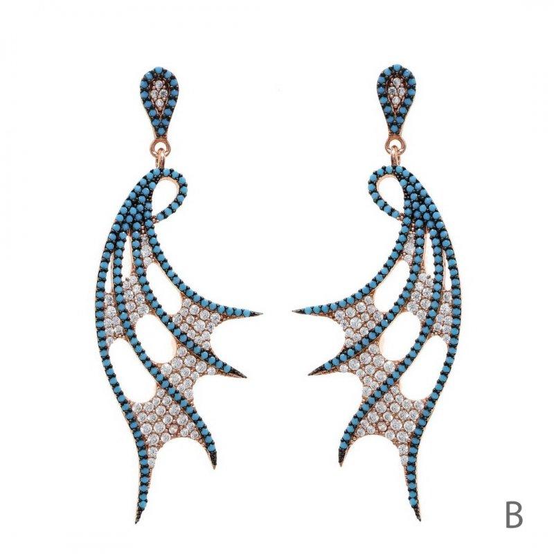 Bat Wing Dangle Silver Earring