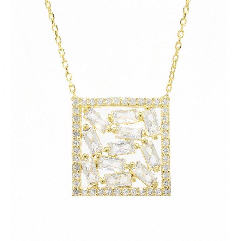 Baguette Square Silver Necklace