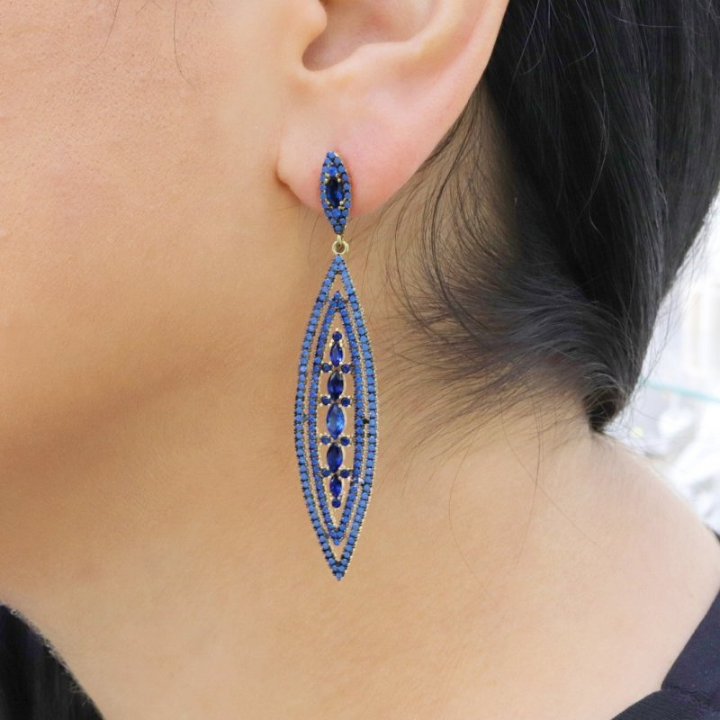 Long Marquise Silver Earring