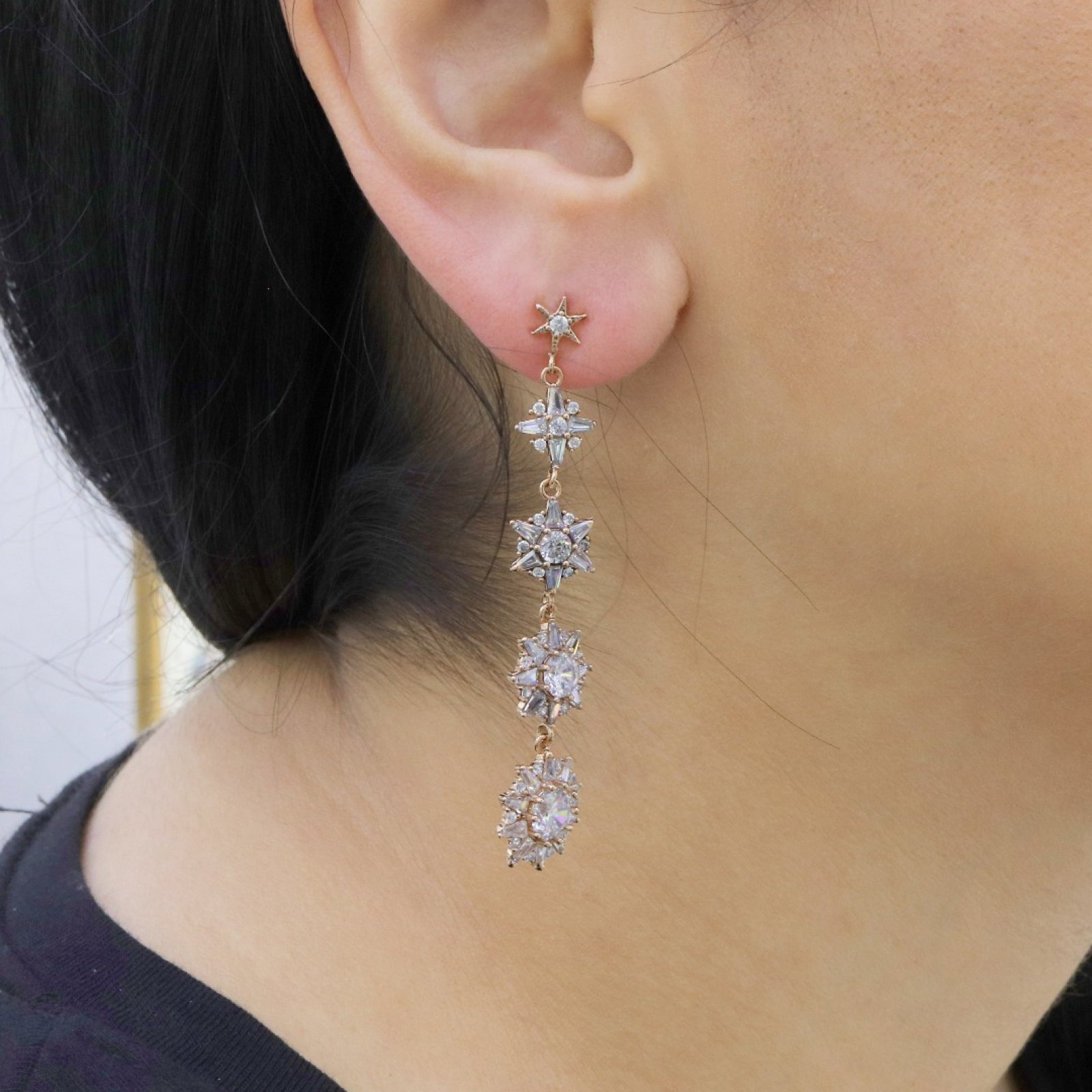 Dangle Stars Silver Earring