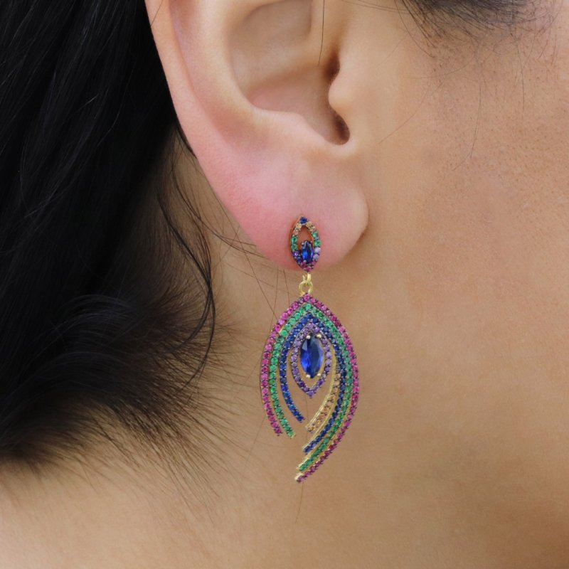 Peacock Feather Silver Earring