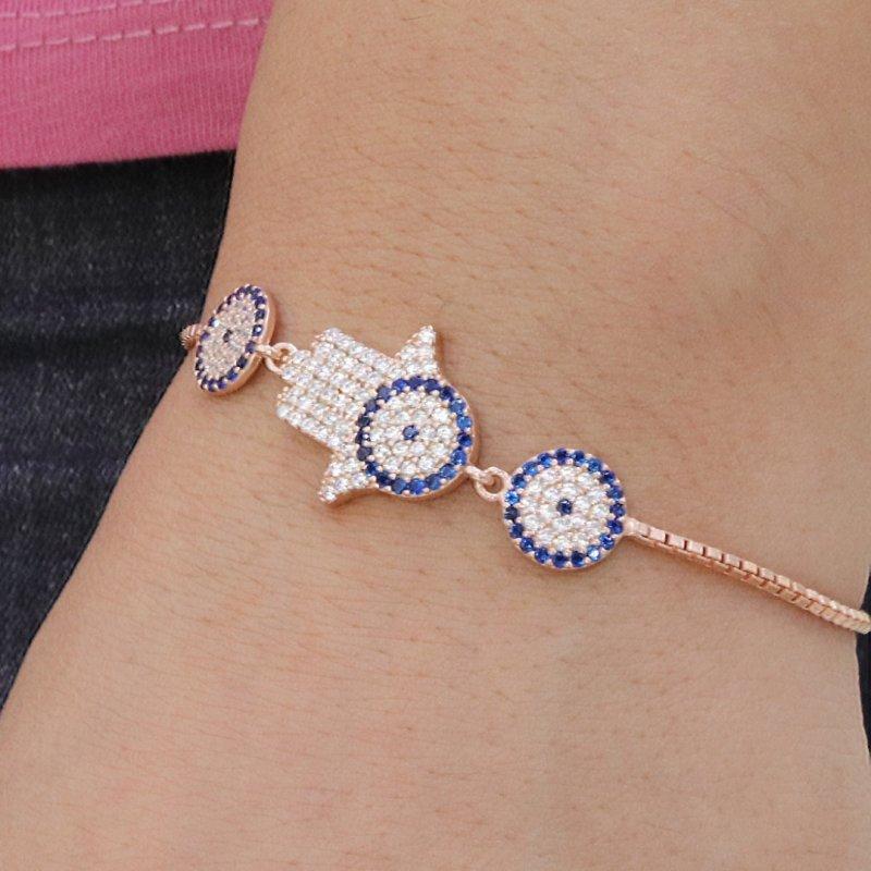 Hamsa Evil Eye Silver Bracelet