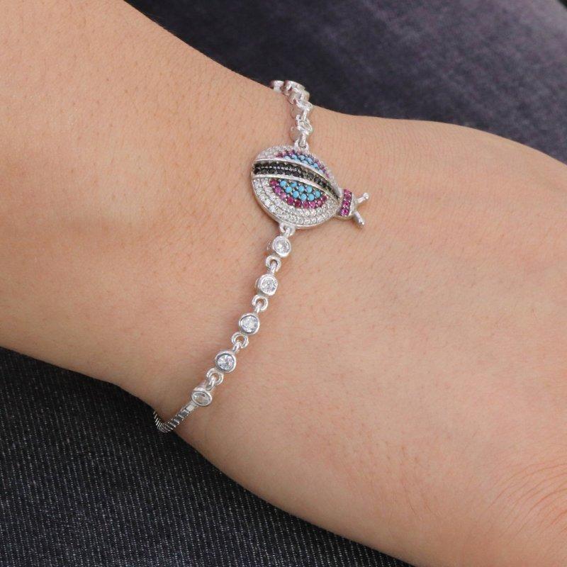 Lady Bug Eye Silver Bracelet