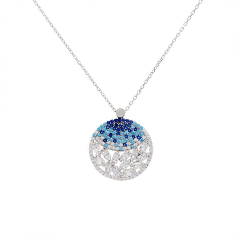 Baguette Round Silver Necklace