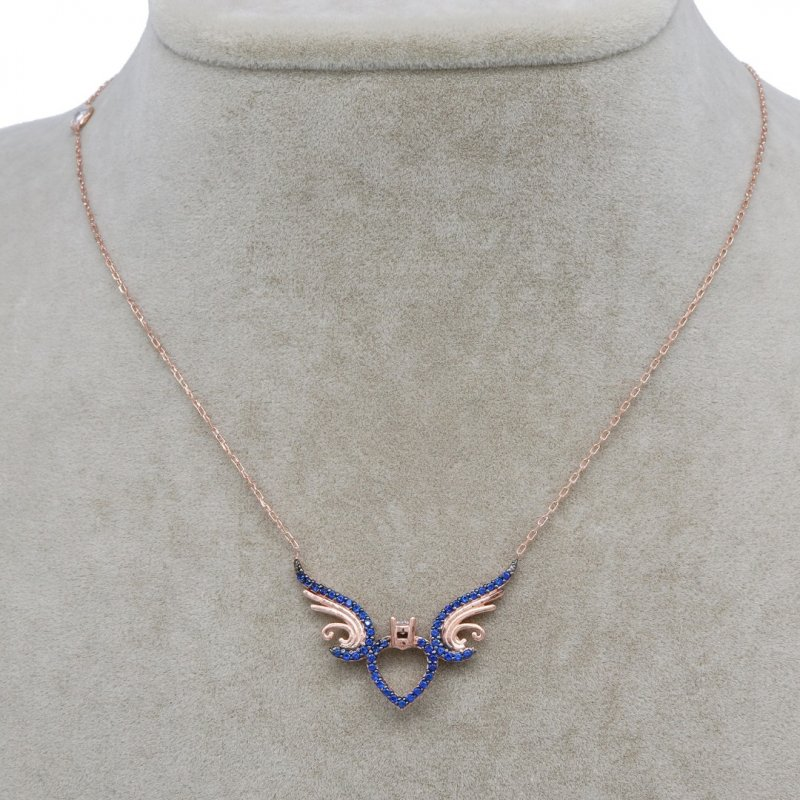 Angel Wing & Heart Silver Necklace