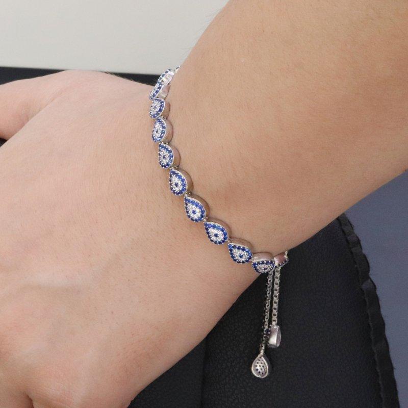 Evil Eye Tennis Silver Bracelet