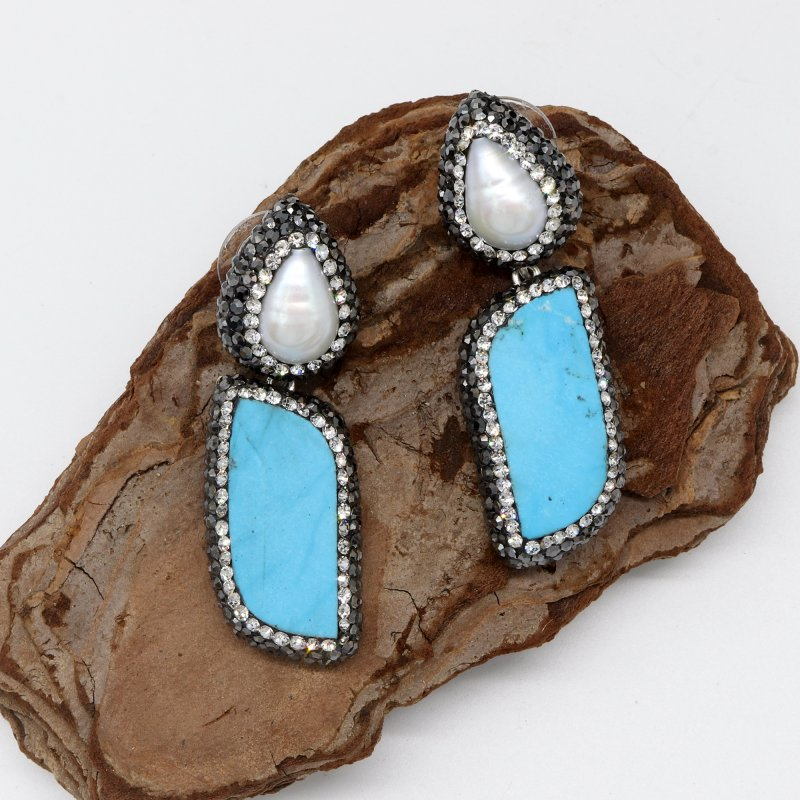 Pearl & Turquoise  Stone 925 Silver Dangle Earring