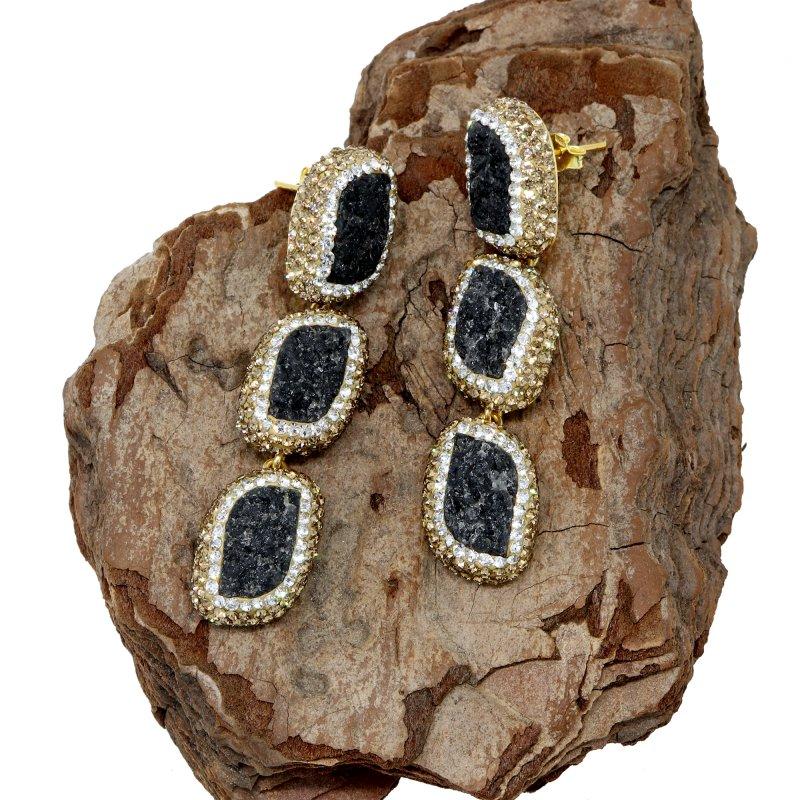 Druzy Stone Silver Earring