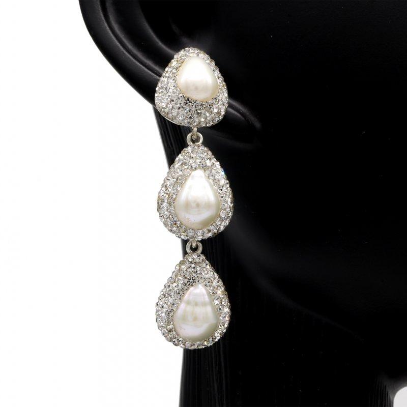Pearl Triple Silver Earring