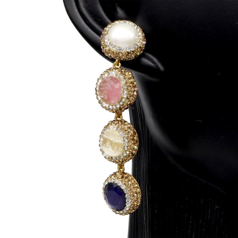 Multi Druzy Four Stone Silver Earring
