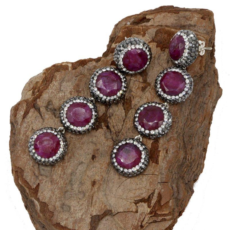 Multi Drop Ruby Stone Silver Earring