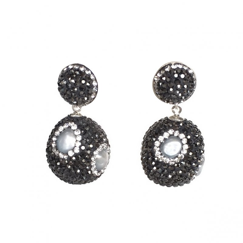 Pearl Ball Stones Silver Earring