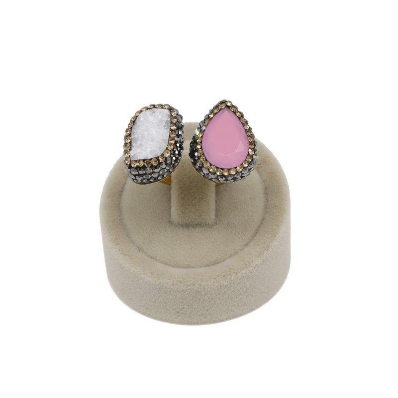 Pink Quartz & Druzy Stone Silver Ring