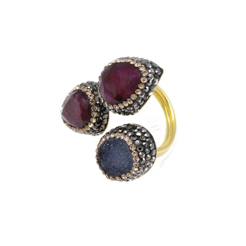 Ruby & Druzy Stone Silver Ring