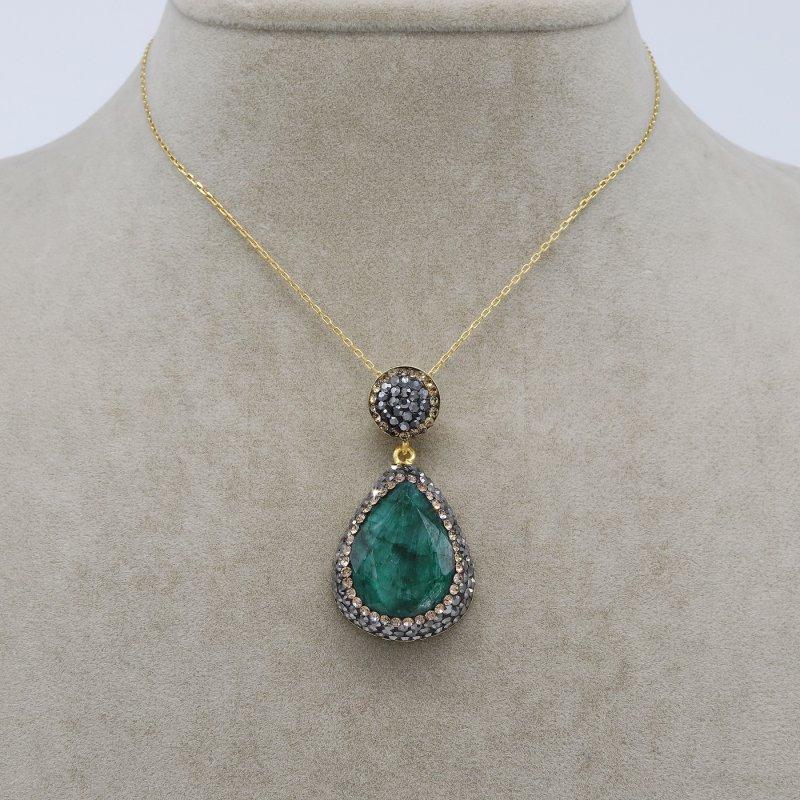 Emerald Stone Silver Pendant