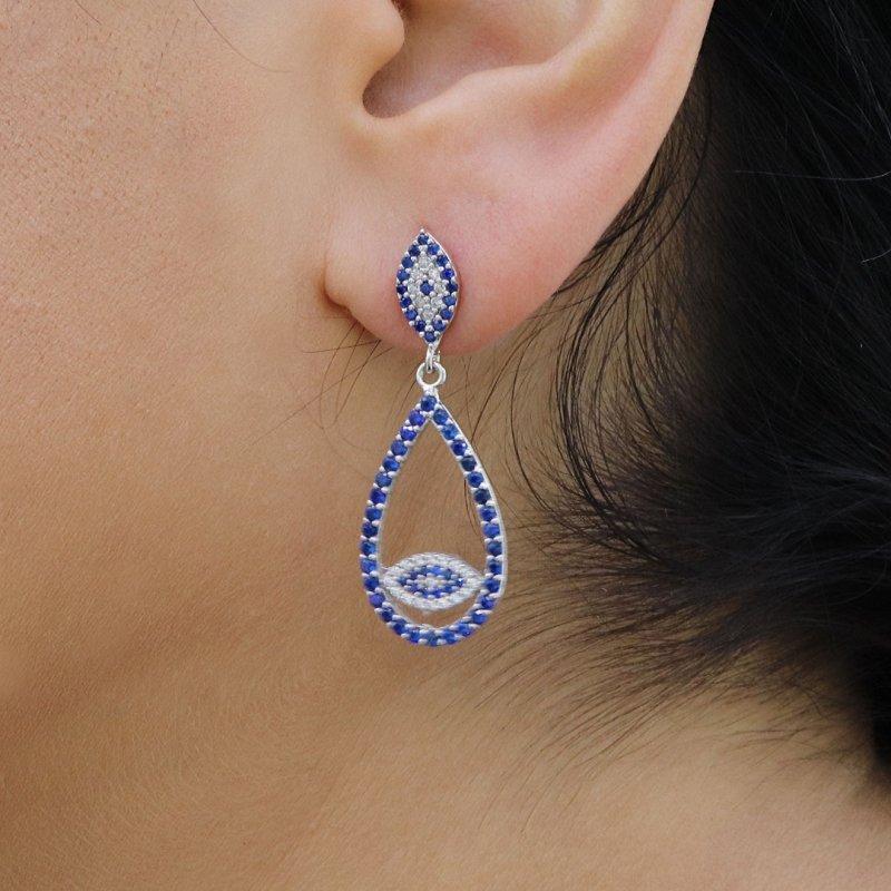 Drop Evil Eye Silver Earring