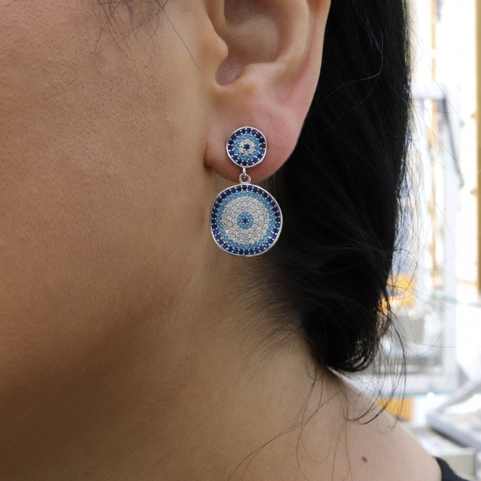 Evil Eye Silver Earring