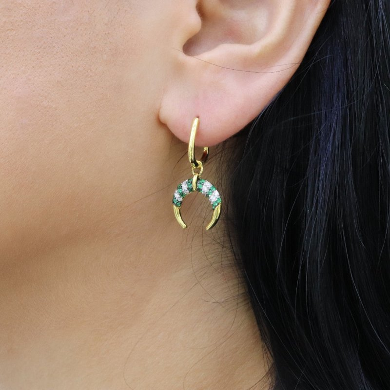 Horn Dangle Silver Earring