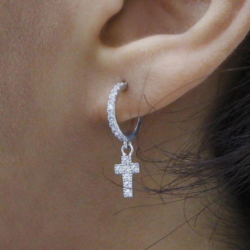 Cross Dangle Silver Earring