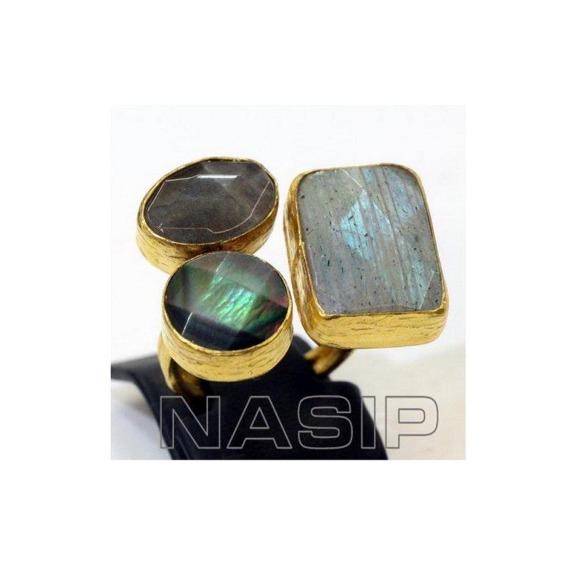 Labradorite Handmade Gold Plated Ring