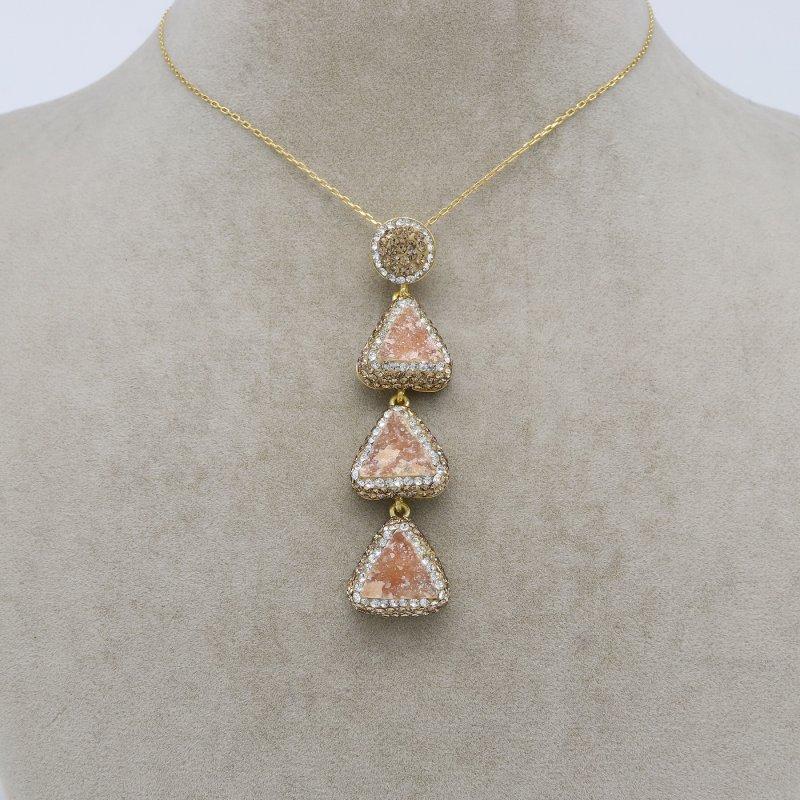 Orange Calcy Silver Pendant