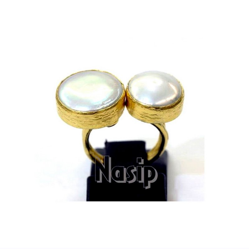 Pearl Handmade Gold Plated Ring