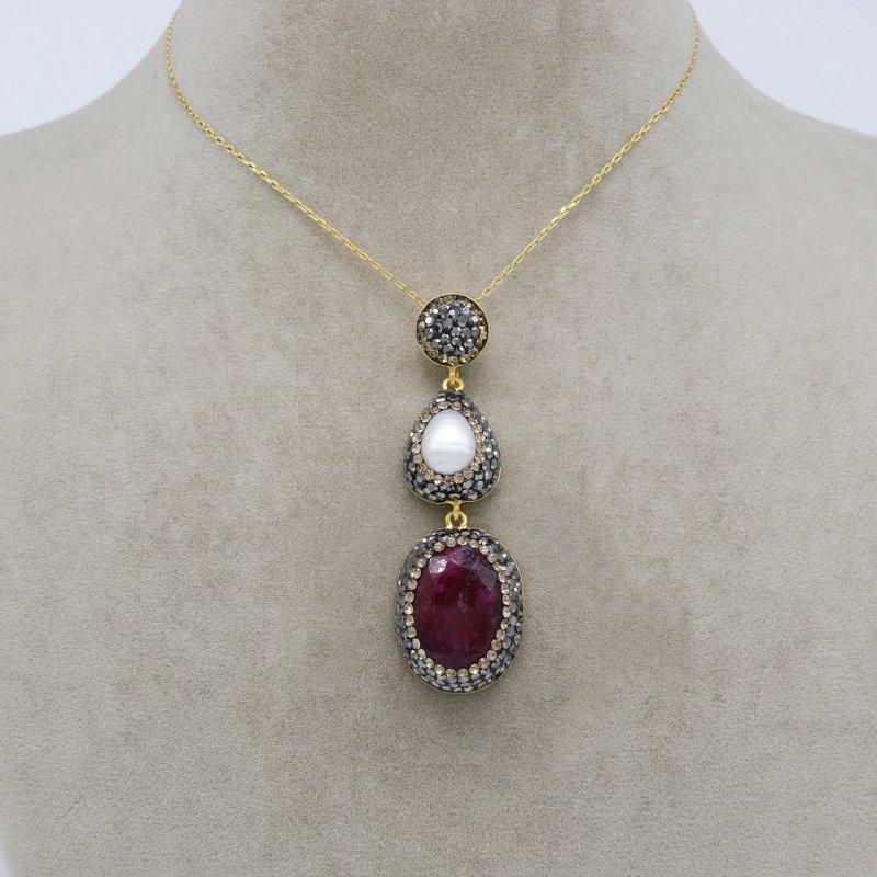Pearl & Ruby Stone Silver Pendant