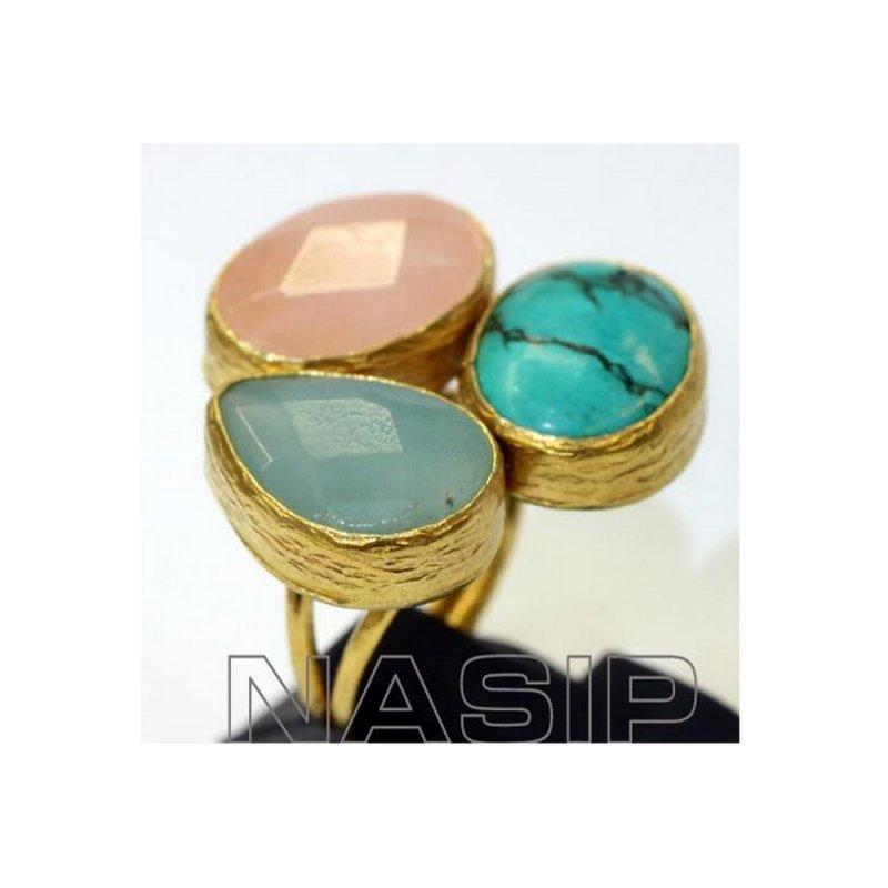 Rose Quartz, Turquoise & Amazonite Stones Handmade Gold Plated Ring