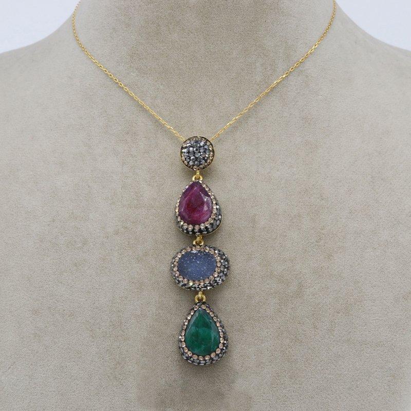 Ruby, Emerald & Calcedony Silver Pendant