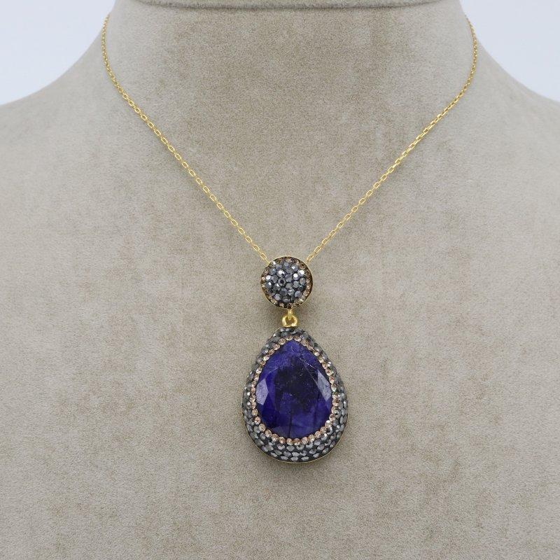 Sapphire Stone Silver Pendant